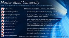 Learn How To Send Your Negative Thoughts Back Into The Worm Hole At Master Mind University (MMU) - Educators Are Standing By To Help You Accomplish Your Missionary Objectives In Life - Find Out How You Can Transform Your Passion Into Your Profession and Be In Control Of Your Destiny!