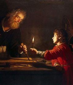 San José en la carpintería, con JESUS 1620. Gerrit van Honthorst.