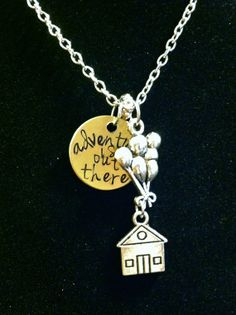 """Disney's """"Up"""" Inspired """"adventure is out there"""" necklace"""