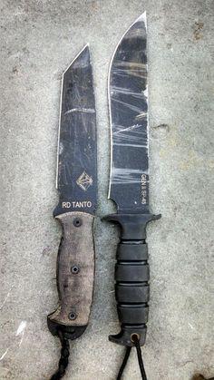 "military-life: "" Photo by: whiskey-wolf.tumblr.com Ontario 9468BM Ranger RD Tanto Knife (Black) Ontario Spec Plus Gen II SP45 Knife (Black) """