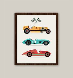 Racing Cars  Transportation Nursery Art 11x14 by giraffesnstuff, $25.00