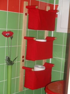 Pockets for storage in the bathroom. Instructions here..