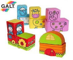 Galt Mix and Match Soft Construction Farm Blocks with Carrying Case $2.99