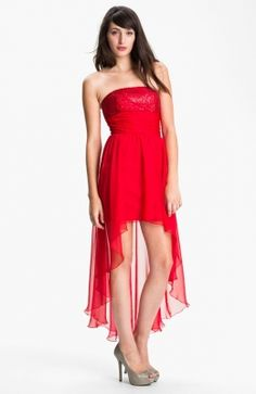 Jessica McClintock Sequin Bodice High/Low Chiffon Dress available at High Low Chiffon Dress, High Low Prom Dresses, Homecoming Dresses, Short Dresses, Bridesmaid Dresses, Dama Dresses, Cute Dresses, Beautiful Dresses, Chiffon Dresses