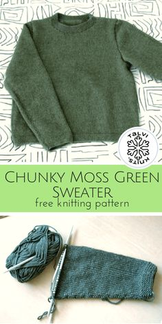 Chunky Moss Green Sweater :: a free knitting pattern from talvi knits. – Awesome Knitting Ideas and Newest Knitting Models Easy Sweater Knitting Patterns, Jumper Patterns, Knit Patterns, Knitting Sweaters, Knit Jumper Pattern, Free Knitting Patterns For Women, Sweaters Knitted, Beginner Knitting Patterns, Knitting For Beginners