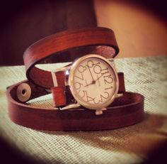 Light Brown Leather Wrap Watch. amazing, right @Natalie Patton ???