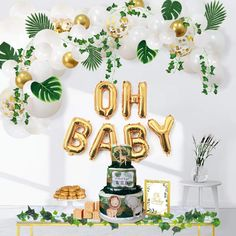 Ola Memoirs Greenery Baby Shower Decorations, Boho Neutral Oh Baby Balloon Garland Arch, Faux Greenery Ivy Leaf Vines, Backdrop Decor for boy and girl, Sweet Decoration Jungle Safari Woodland Theme Cadeau Baby Shower, Deco Baby Shower, Baby Shower Backdrop, Baby Girl Shower Themes, Baby Shower Jungle, Safari Baby Shower Cake, Rustic Baby Shower Decor, Baby Boy Shower Decorations, Jungle Theme Decorations