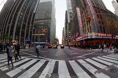 Ave of the Americas, Radio City Hall, Fisheye, New York City, United States New York City, Times Square, United States, Street View, Canada, America, Usa, Travel, Viajes