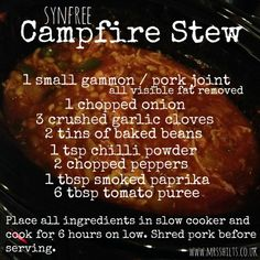 Slimming I love preparing a meal for the slow cooker knowing that when I get home from work later that day, the dinner should be ready to serve. This campfire stew is a fantastic winter warming meal that the whole family… Slow Cooker Slimming World, Slimming World Dinners, Slimming World Recipes Syn Free, Slimming World Syns, Slimming World Lunches Work, Campfire Stew Slimming World, Actifry Recipes Slimming World, Slimming Eats, Diet Recipes