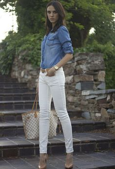 denim shirt and white jeans with nude heels