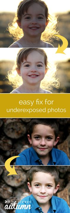 easy fix for dark or underexposed photos - Online Photo Editing - Online photo edit platform. - save dark or underexposed photos with this simple & easy trick for brightening! step by step screenshots show you exactly what to do. Photography Lessons, Photoshop Photography, Photography Editing, Photography Tutorials, Digital Photography, Photo Editing, Beginner Photography, Image Editing, Photography Ideas
