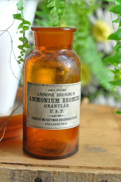 Vintage Pharmacy Chemical Bottle Ammonium Bromide with Old Label Photographic Chemical