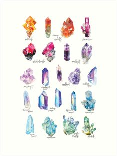 'Crystal Collection Poster by Andrea Fairservice - Collection of my favorite watercolor paintings and their names. Illustration Cristal, Crystal Drawing, Illustration Inspiration, Crystal Tattoo, Crystal Collection, Book Of Shadows, Resin Crafts, Doodle Art, Watercolor Paintings