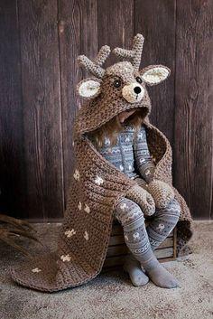 Woodland Deer Blanket Crochet Pattern - Hooded Woodland Deer Blanket Crochet PATTERN MJ's Off The Hook Design - Knitting patterns, knitting designs, knitting for beginners. Crochet For Beginners Blanket, Crochet Blanket Patterns, Crochet Stitches, Crochet Hooks, Knitting Patterns, Knitting Ideas, Crochet Afghans, Crochet For Kids, Crochet Baby