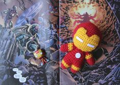 Iron Man : The weekend is for sure the best part of the week, when I can finally spend my time crafting around. It's only saturday and I already managed to finish two crochet creations of my order list. Crochet Amigurumi Free Patterns, Crochet Toys, Iron Man, Felt Glue, Mini Iron, Kawaii Crochet, Diy For Men, Batman, Lana