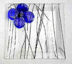 flower fused glass plate