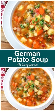 This potato soup is loaded with healthy veggies savory bacon and is absolutely JAM-PACKED with FLAVOR! This potato soup is loaded with healthy veggies savory bacon and is absolutely JAM-PACKED with FLAVOR! German Potato Soup, Best Potato Soup, German Potatoes, Potato Soup Recipes, Brothy Soup Recipes, Healthy Potato Soup, Chili Recipes, Cooking Recipes, Healthy Recipes