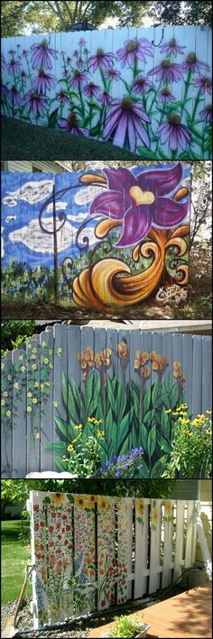 Garden Decoration Ideas: Cheap Fence Ideas, Garden Fence, Backyard Designs Fence Source by ldzine Outdoor Art, Outdoor Walls, Outdoor Gardens, Outdoor Ideas, Garden Crafts, Garden Projects, Garden Ideas, Diy Garden, Yard Art