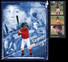 I can create a custom baseball sports poster of your child using your photos. View and order yours at http://anythingphotos.com/projects/photos/sports