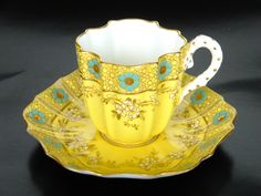 Porcelain cup and saucer set by Coalport, England 1880-1910
