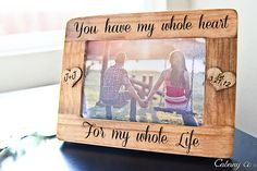 Personalized Picture Frame Engraved Frame for Couple by CabanyCo Homemade Picture Frames, Homemade Pictures, Picture Frame Crafts, Wedding Picture Frames, Wood Picture Frames, Picture On Wood, Personalized Picture Frames, Personalized Gifts, Custom Gifts