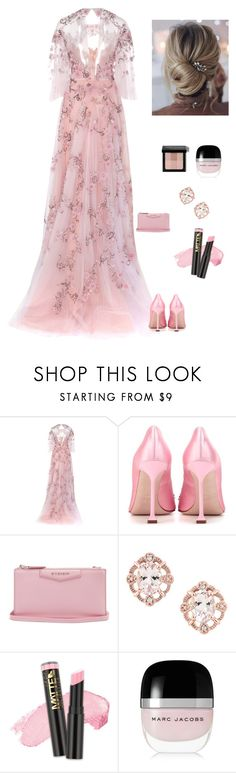 """""""Striking Pink Gown"""" by kotnourka ❤ liked on Polyvore featuring Marchesa, Miu Miu, Givenchy, L.A. Girl, Marc Jacobs and Bobbi Brown Cosmetics"""