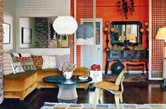I love this retro home & all the colors...