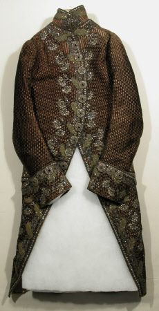Court coat National Trust Inventory Number 1348760 Date1780 - 1790 MaterialsCotton, Flannel, Linen, Metal, Satin, Silk, Velvet CollectionSnowshill Wade Costume Collection, Gloucestershire (Accredited Museum)