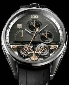 TAG Heuer Carrera MikroPendulum Tourbillon - Tourbillon Pre-Selected Watches: Round Table Discussion Of The Grand Prix d'Horlogerie de Genève 2014 - The MikroPendulum Tourbillon is world's first double tourbillon combining a mechanical tourbillon (4 Hz) and a magnetic tourbillon (50 Hz) regulation system offering an incredible 1/100th of a second precision chronograph. Click on the image for more details...