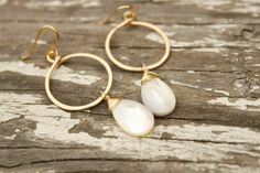 Small Gold Hoop Earring with Mother of Pearl by ParadiseBungalow on Etsy