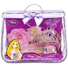 Disney Store Princess Rapunzel Costume Accessories Set Princess purse, tiara / Crown , hair piece, necklace, bracelet, pair of earrings, and 4 rings - 10 piece.