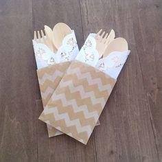 100 wood utensil sets - Utensil pocket kit - eco friendly dinnerware on Etsy, $71.00