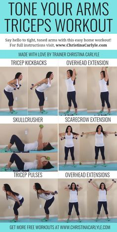 Tricep Workout for Women Tricep workout for women to burn arm fat and get toned arms at home with weights. This quick and easy arm workout is perfect for busy women, moms, and… Easy Arm Workout, Tricep Workout Women, Arm Workout For Beginners, Easy At Home Workouts, Triceps Workout, Fat Workout, Workout Fitness, Leg Workouts, Workout Exercises