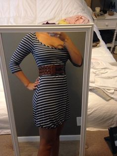 f6590469ffd2f3 Navy blue and white striped dress Blue And White, Navy Blue, Casual Dresses  For