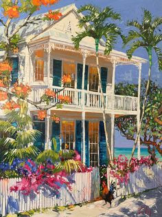 Caribbean Art, Cottage Art, Tropical Art, Hippie Art, Coastal Art, City Art, Pretty Art, Architecture, Beautiful Paintings