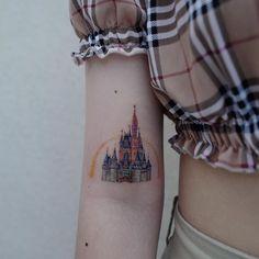 Sweet Tattoos, Cool Tattoos, Tatoos, Disney Inspired Tattoos, Disney Tattoos, Disney Castle Tattoo, Mickey Tattoo, Henna Hair, World Tattoo