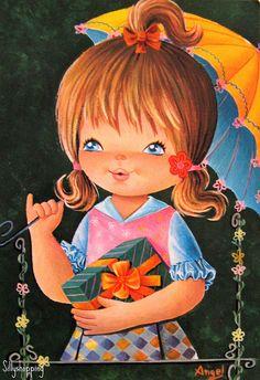 Vintage Big Eyed Girl Postcard