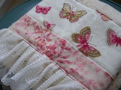 Decorative Guest hand towel with lace edge and sweet butterflies. | by www.createdbycathandbec.com