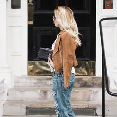 One Teaspoon Boyfriend jeans, New Look real suede belted biker jacket, H&MxBALMAIN tee and a Saint Laurent bag