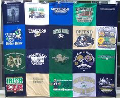 Custom Stadium Blanket - T Shirt Memory Quilt - 20 Block Design - Blanket Custom T, Custom Items, College Activities, The Quilt Show, Custom Quilts, Sewing Studio, Block Design, Learn To Sew, Notre Dame