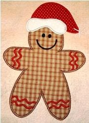 Gingerbread Man with Hat Applique - 2 Sizes! Christmas Applique, Christmas Sewing, Christmas Embroidery, Diy Christmas Ornaments, Christmas Stuff, Christmas Cookies, Christmas Stockings, Hand Applique, Applique Patterns