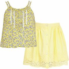 Girls yellow ditsy cami and skirt set $30.00