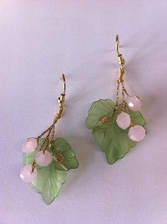 Gorgeous spring pink and green earrings Czech by beadsforartist, $17.99