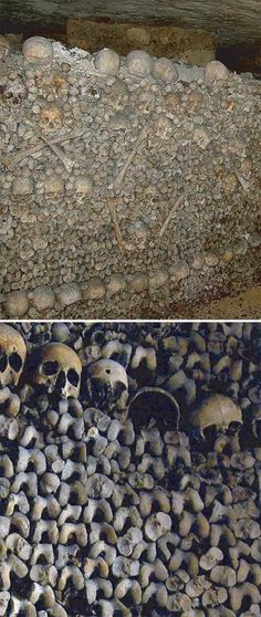 Catacombs, Paris  There are the bones of more bodies down here than people who currently live in Paris.