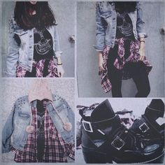 Studded Denim Jacket + Red Flannel + Graphic Tee + Buckled Ankle Boots