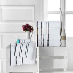 Towels Beyond offers exclusive Runa White Luxury Towel Set (Set of 6). The stripes are designed the way it gives different identity to white solid color of towe