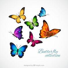 Realistische und bunte Schmetterlinge Kostenlose Vektoren