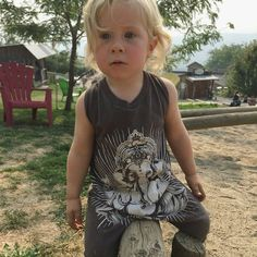 """Hey- Farm days are my favorite kind of days too!This little guy is rocking a THROWBACK design of ours- the Ganesha print! Thanks for the support little…"""