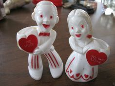 VINTAGE VALENTINE ROSBRO HARD PLASTIC BOY AND GIRL CANDY CONTAINER 1950'S