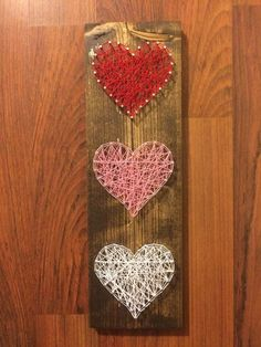 Heart String Art Valentine's Day String Art by HarpSaw on Etsy #valentinescrafts